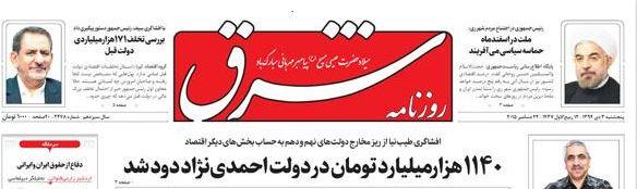 طیب نیا وزیر امور اقتصاد و دارائی:١١٤٠ هزار میلیارد تومان در دولت احمدینژاد دود شد